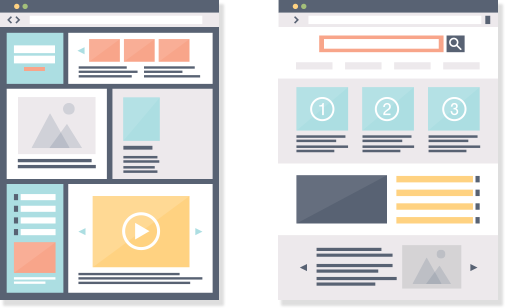 Wireframe layouts of webpages side by side